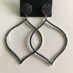 bebe Jewelry - Large dangling teardrop black rhinestone earrings